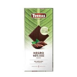 TORRAS-STEVIA CHOCOLATE NEGRO 60% CACAO S/G 100 Grs.