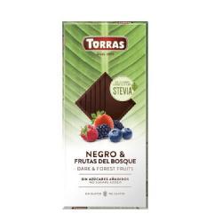TORRAS-STEVIA CHOCOLATE NEGRO CON FRUTAS DEL BOSQUE S/A S/G 125 Grs.